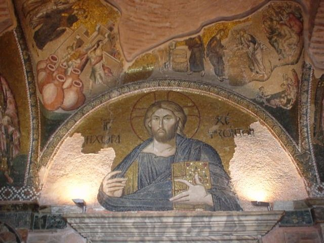 """The Holy Savior in Chora. The mosaic in the lunette over the doorway to the esonarthex portrays Christ as """"The Land of the Living"""". The composition reflects the theological and philosophical interpretation of the term, expounded by Theodore Metochites and other scholars of his time (1315-1321)."""