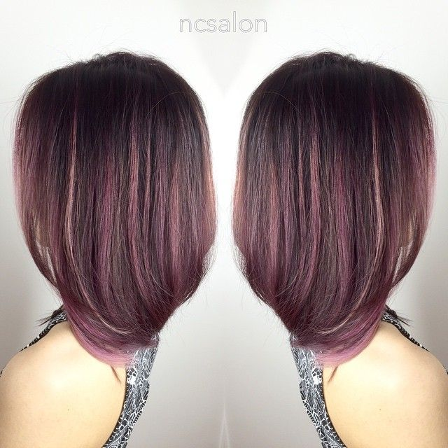 Pink Highlights On Dark Hair Rose Gold Rose Pink And Lavender