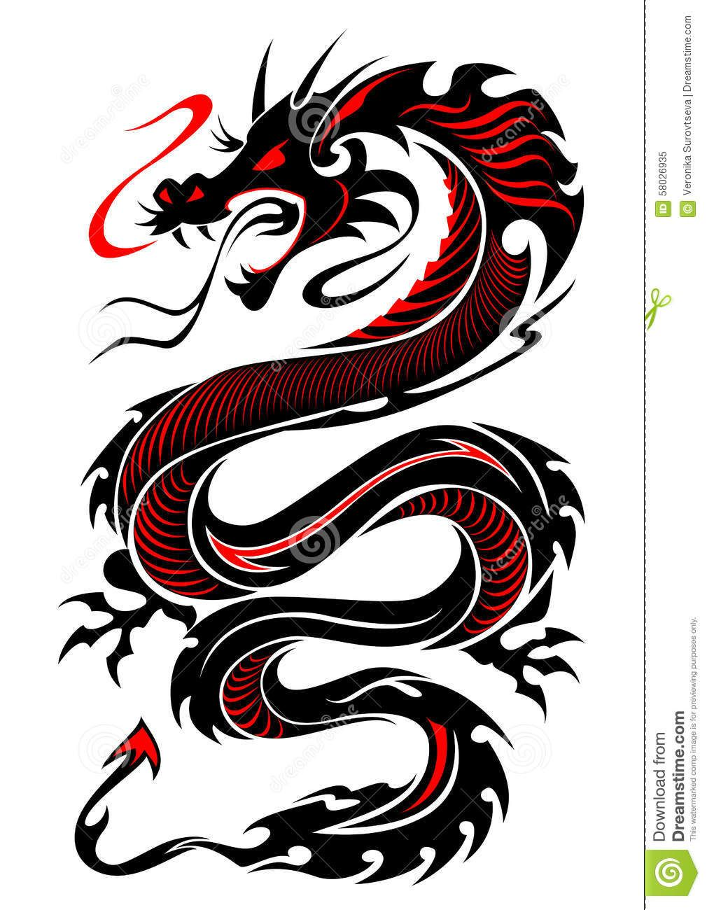 Tribal Dragon Tattoo Vector Illustration In Black And Red Colours