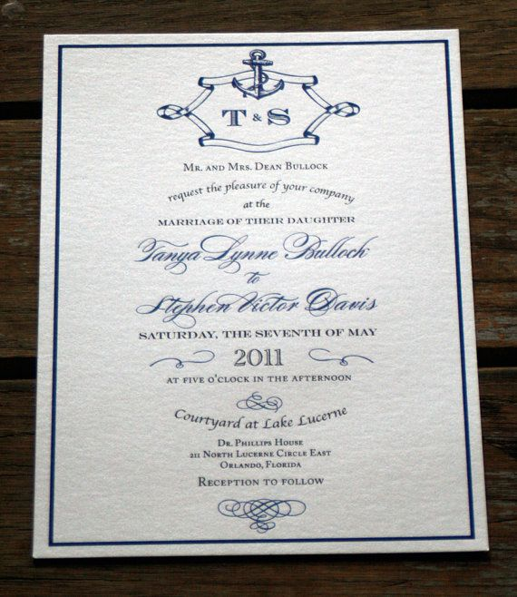 Calligraphy Anchor Wedding Invitations, Vintge Nautical Wedding - check request forms