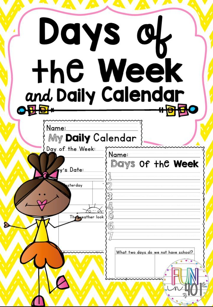 Days Of The Week And Daily Calendar For Little Learners Calendar