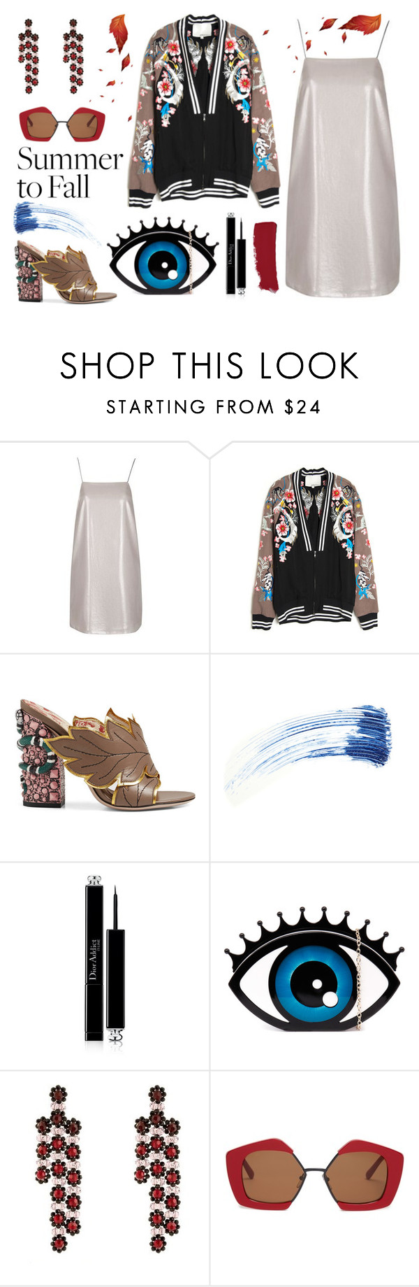 """""""Summer to Fall Layering"""" by erindream ❤ liked on Polyvore featuring Topshop, 3.1 Phillip Lim, Gucci, Eyeko, Christian Dior, Simone Rocha, Marni and Chanel"""