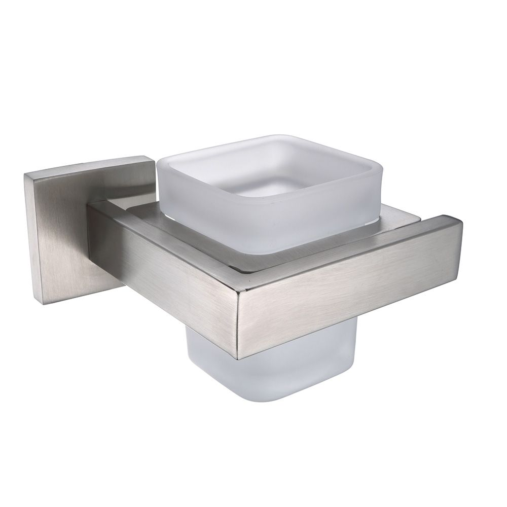 Single Tumbler with Glass Cup Stainless Steel Holder Bathroom ...