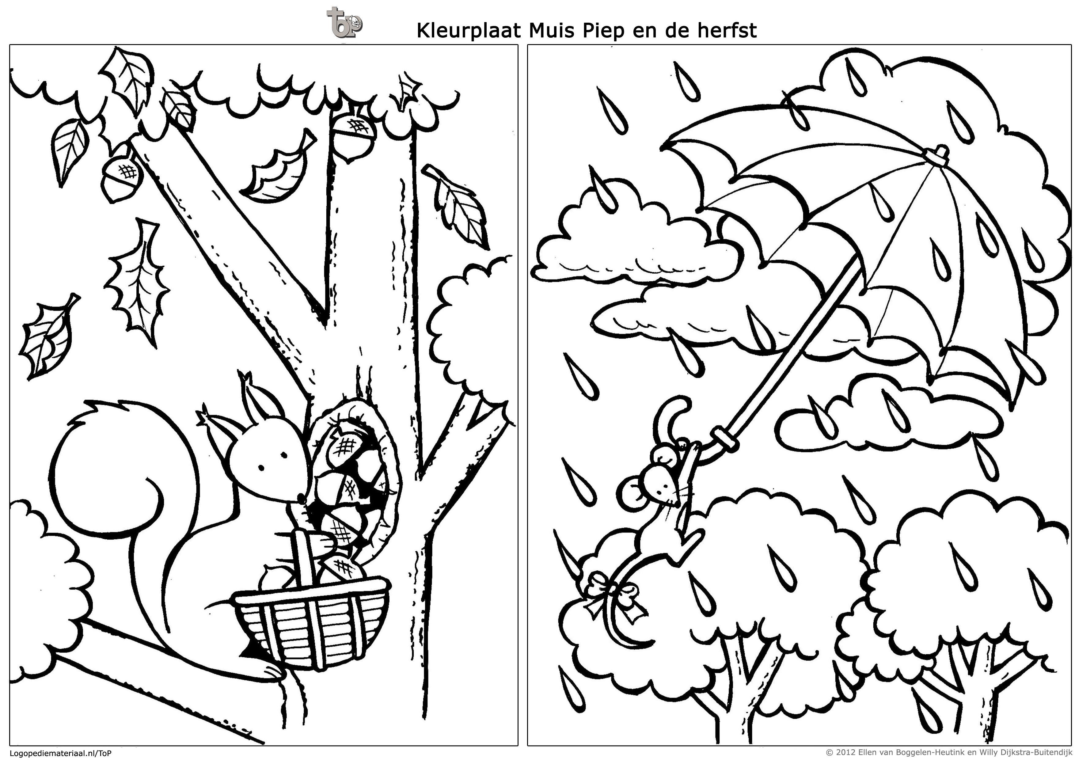 Kleurplaat Muis Piep En Eekhoorn En De Herfst Kleurboek Eekhoorn Kleurplaten