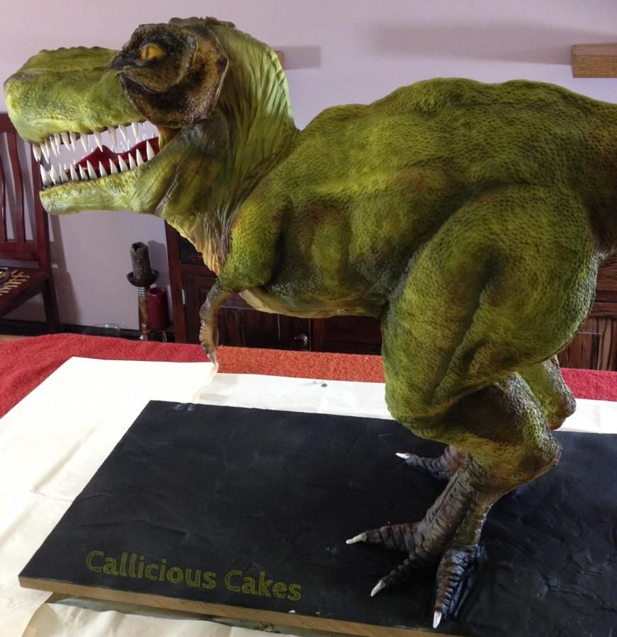 My Fave 3D Standing TRex Cake Ever by Callicious Cakes on