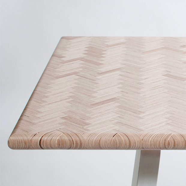 Plywood waste is laminated in a fish-grate pattern to produce this manufactured wood - looks fantastic