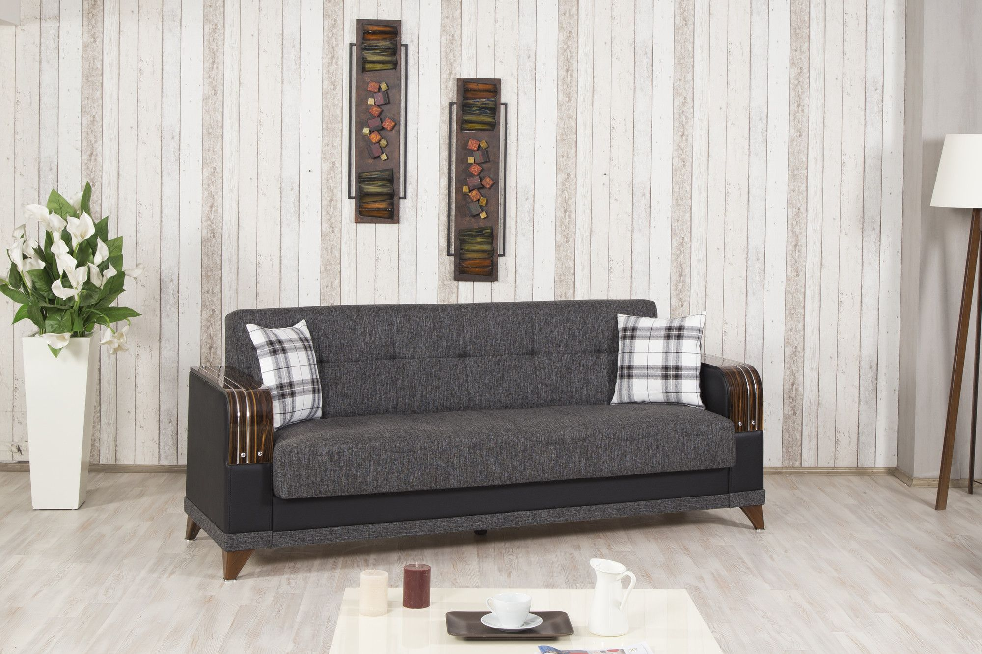 Almira Sofa Bed in Elena Gray by Casamode Furniture