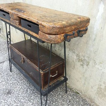 Rustic Vanity TABLE Salon Station Repurposed Industrial Salvaged Antique  Pallet Cart Desk Distressed Wrought Iron Stand