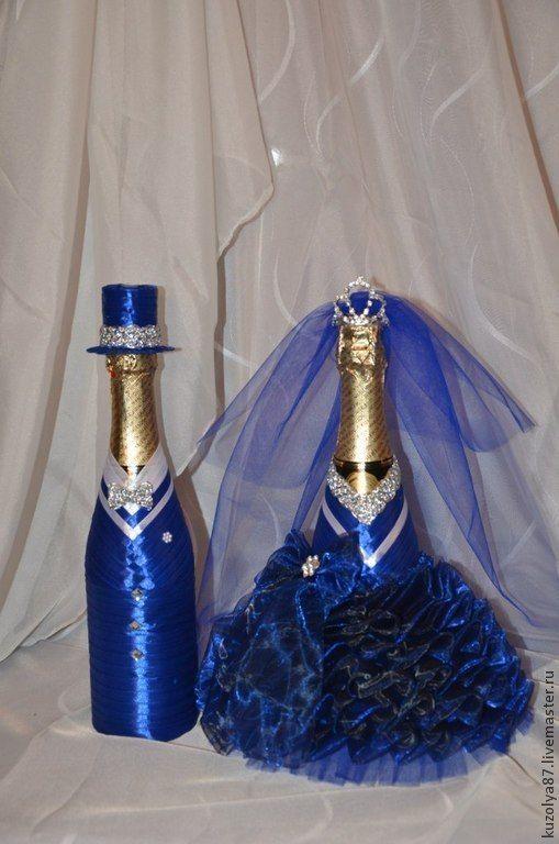 Свадебное шампанское украшенное лентами