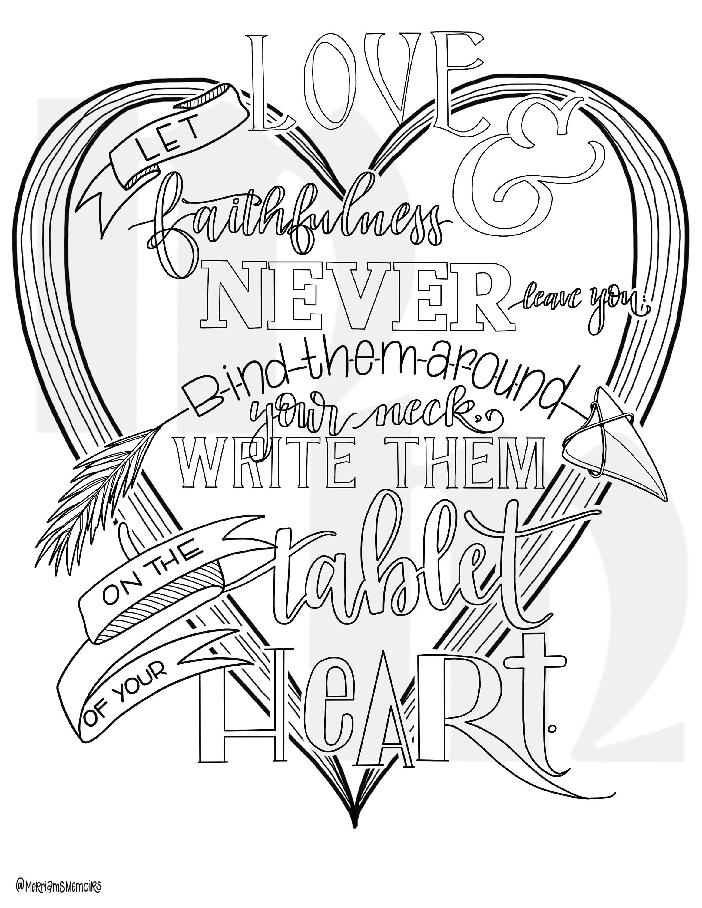 write them on your heart bible coloring page | love