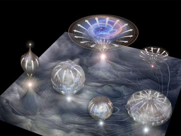 La ilustración muestra una membrana de la que surgen universos individuales que se expanden con el tiempo.