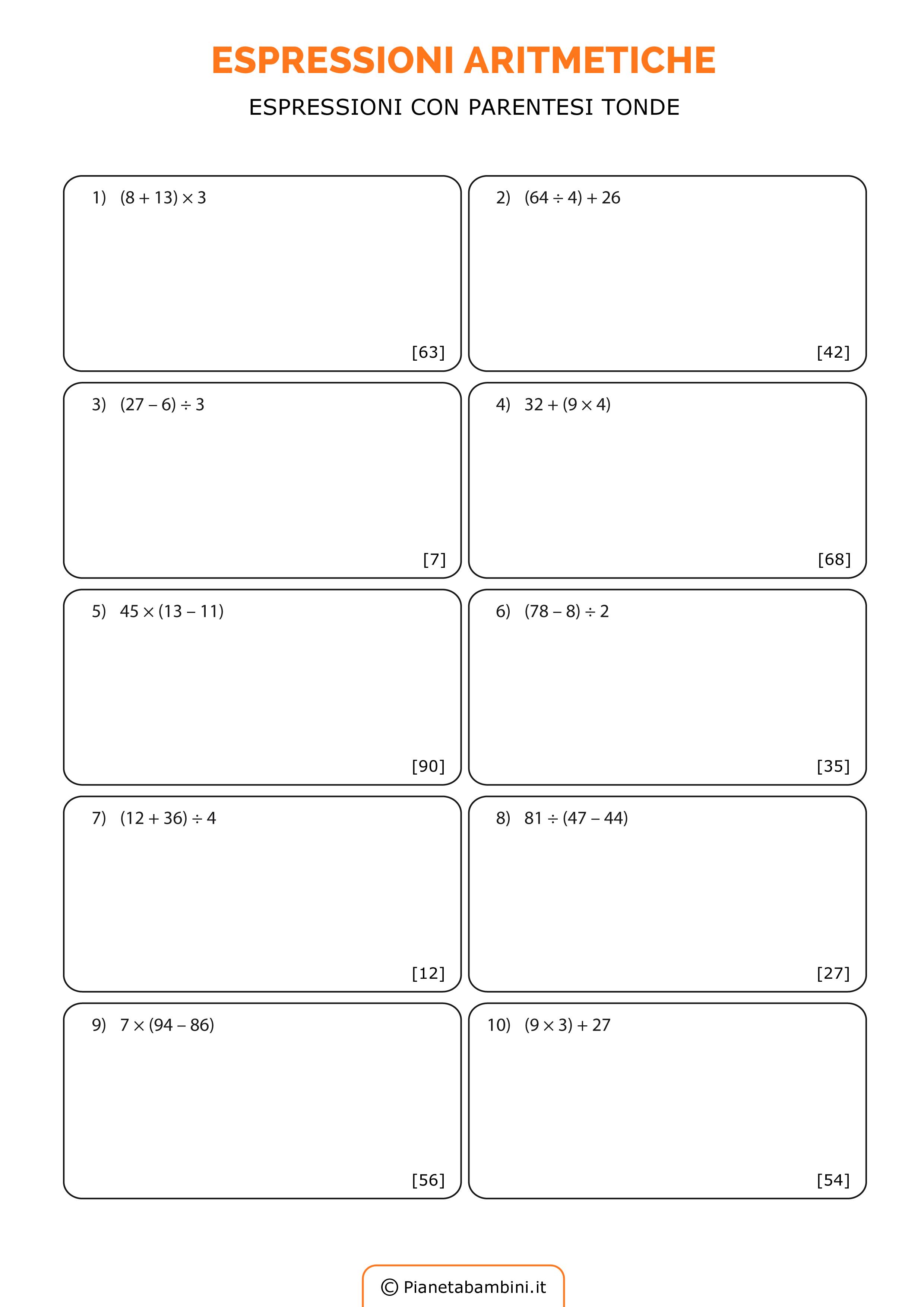 Espressioni Aritmetiche Esercizi Da Stampare E Da Risolvere