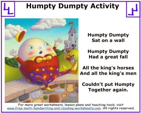Humpty Dumpty Nursery Rhyme:Mother Goose Activities