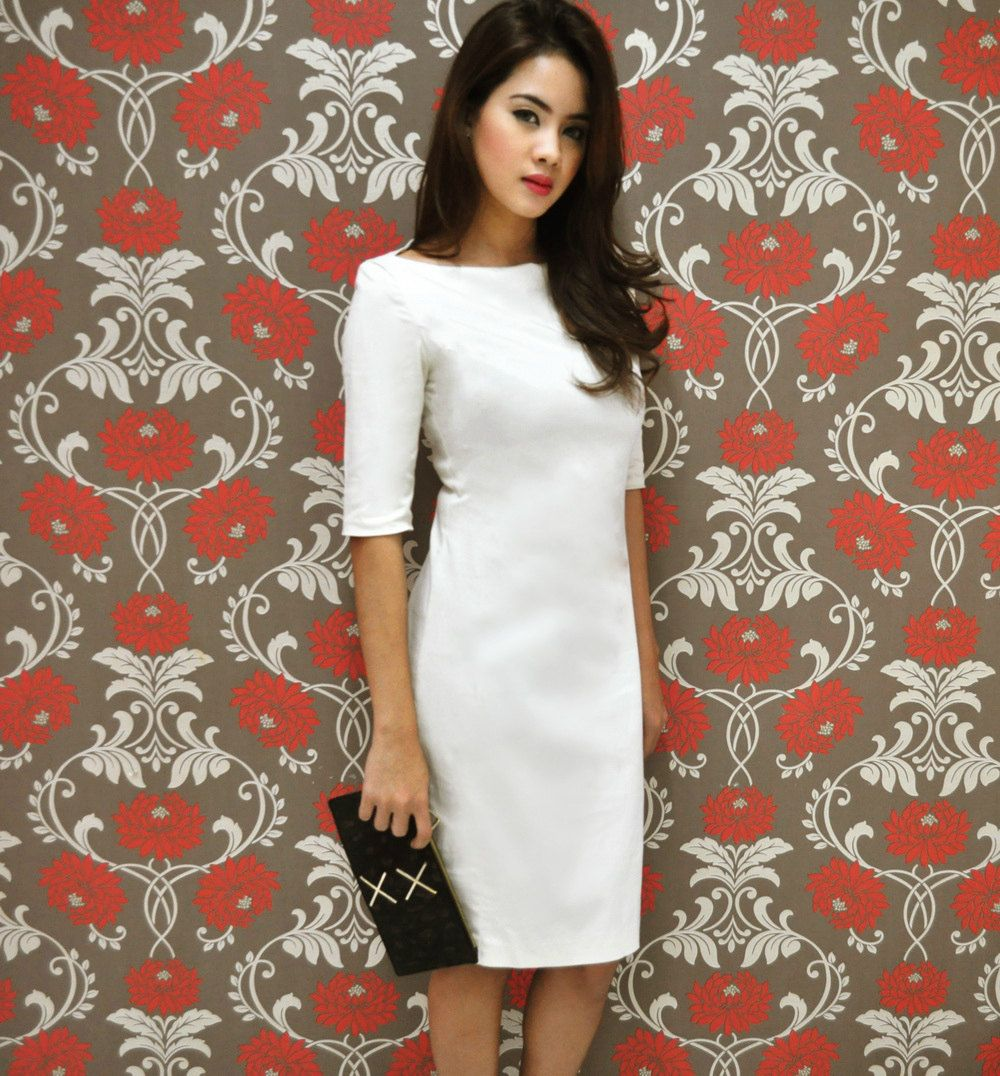 Cream Shift Dress Short Sleeve Midi White by andwhatelseisthere ...