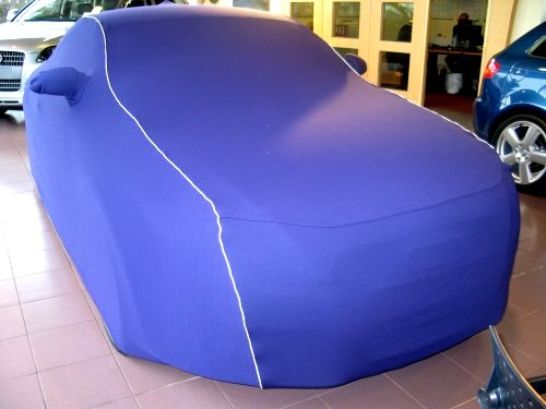 Audi Bespoke Indoor Car Cover In Royal Blue With White Piping - Audi a5 car cover