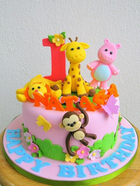 Jungle animal themed cake for a little girl jungles for Animal cake decoration