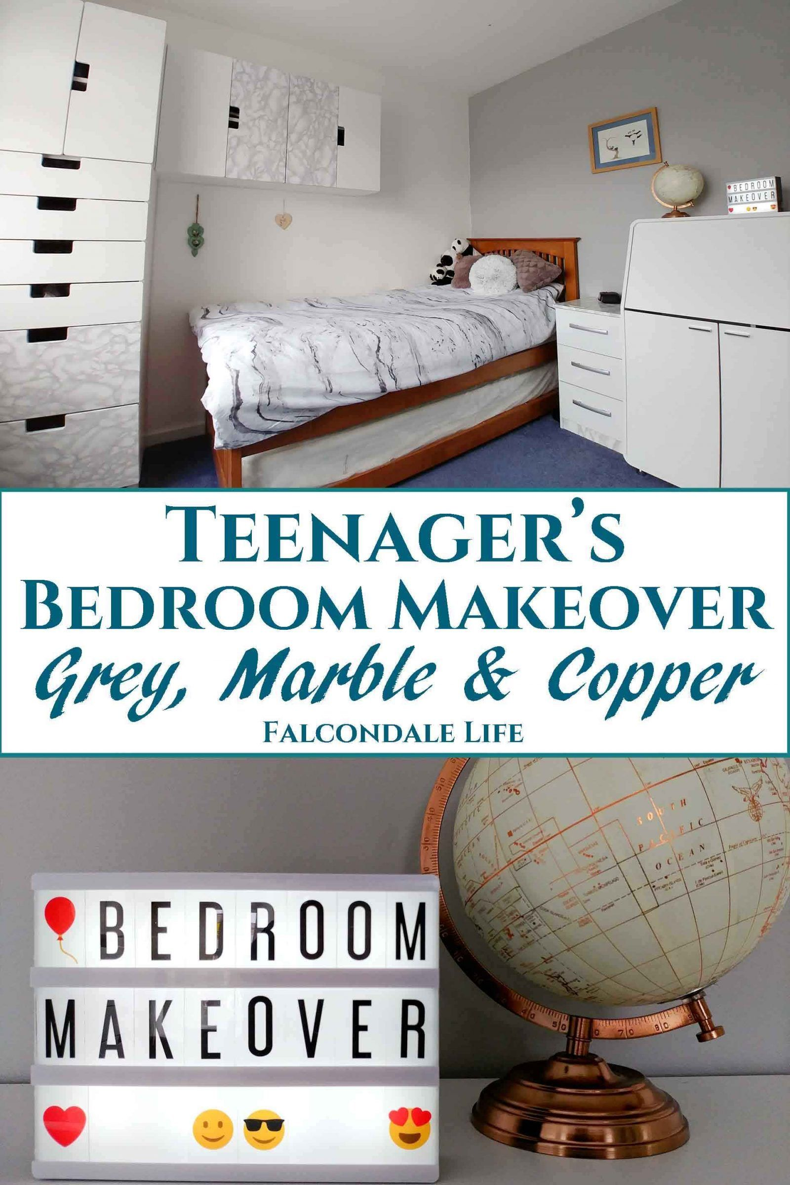 Teenagerus bedroom makeover with grey marble and copper