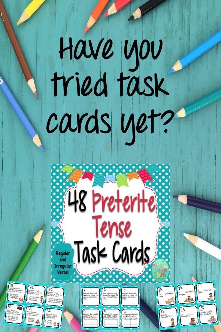 48 spanish preterite tense task cards (regular and irregular verbs