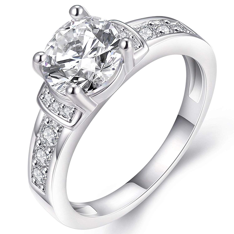 FENDINA Womens Classic Solitaire Wedding Engagement Ring