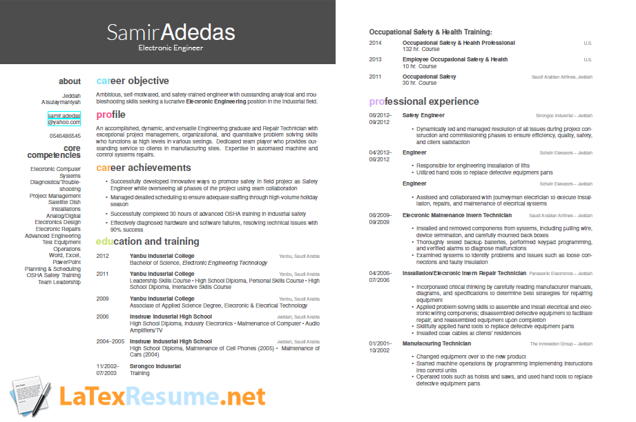 Latex Resume Sample WwwLatexresumeNetOurSamples  Latex