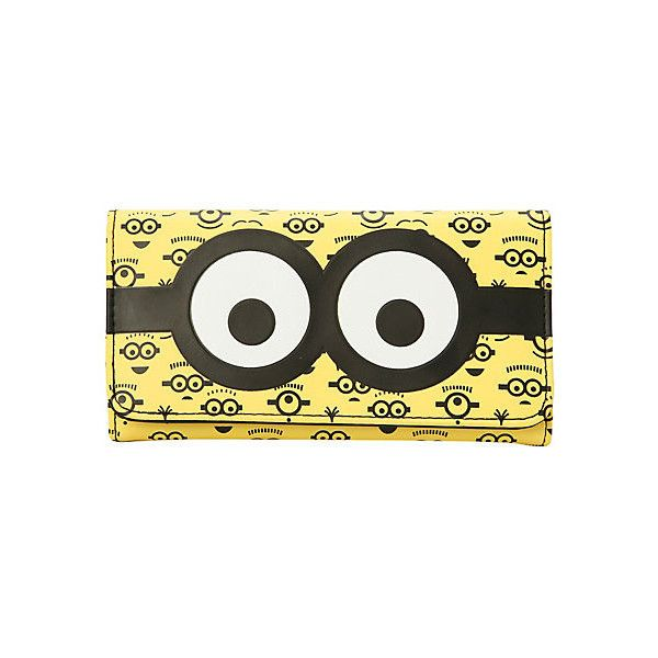 Despicable Me Minion Faces Flap Wallet | Hot Topic ($13) ❤ liked on Polyvore featuring bags, wallets, snap closure wallet, credit card holder wallet, bill fold wallet, snap wallet and flap wallet