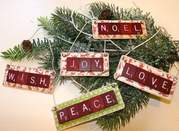 Vintage Scrabble Tile Christmas Ornaments Etsy Holiday Crafts Christmas Christmas Ornaments Homemade Christmas Ornaments