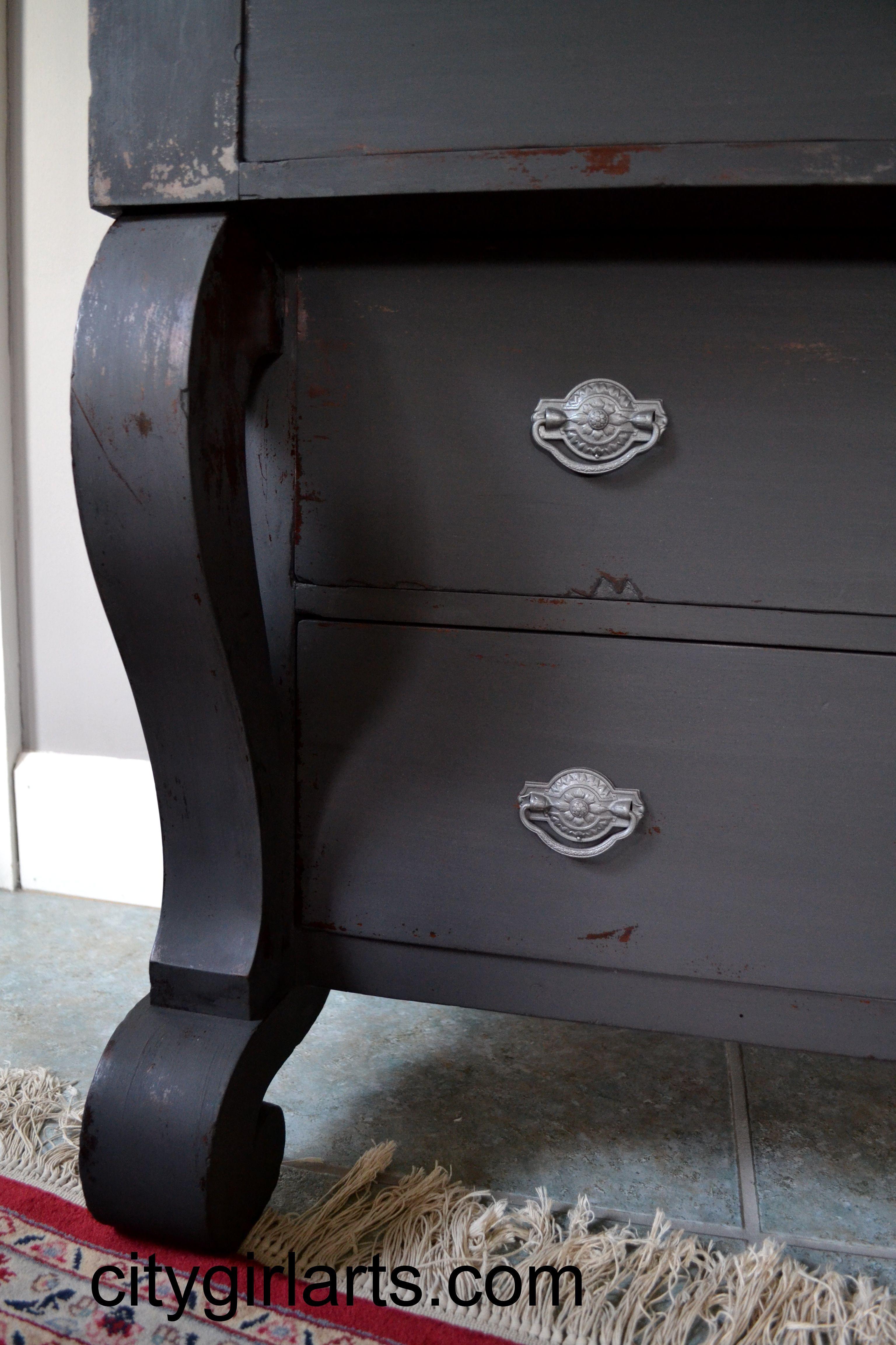 Antique American Empire Dresser In Seal Grey Milk Paint