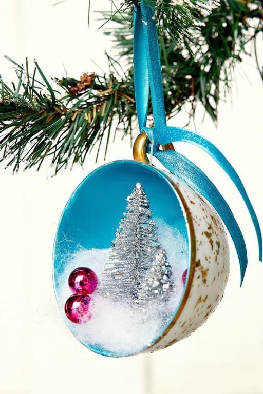 How To Make DIY Teacup Christmas Tree Ornaments #christmasornaments