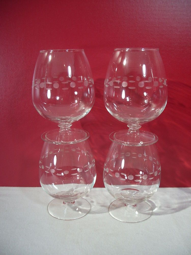 Brandy Snifters Mid Century Modern Vintage Etched Glass Dashes And Dots Lot of 4