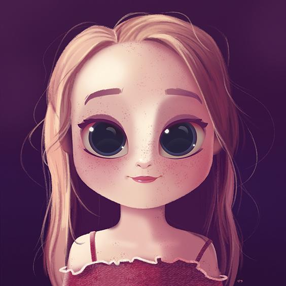 Cartoon Portrait Digital Art Digital Drawing Digital Painting Character Design Drawing Big Eyes Cute Il Cartoon Drawings Digital Drawing Cute Drawings