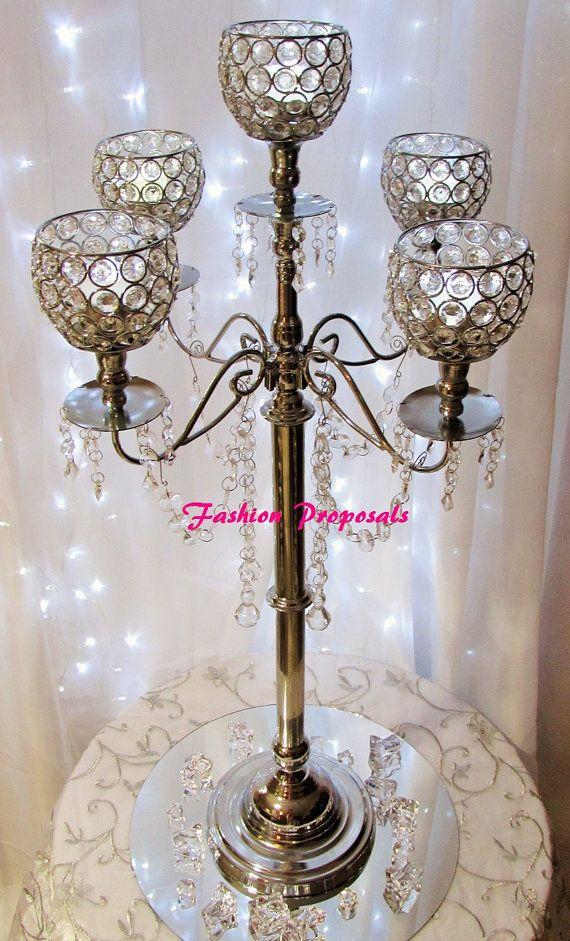 Wedding crystal globe candelabra arms with dripping