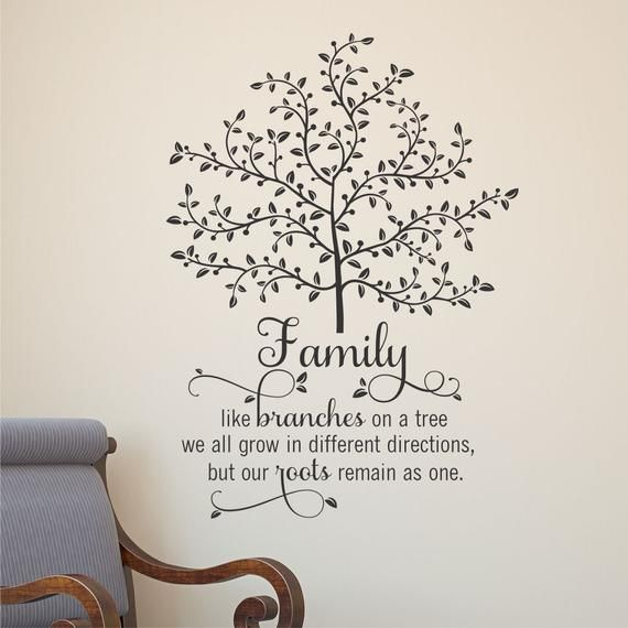 Tree / Family - like branches on a tree we all grow in different directions, but our roots remain as one. [SKU: fmly0313] This is such a pretty design for a family room, living room, entryway, or gallery wall. The swooping script paired with the branches and leaves come together to