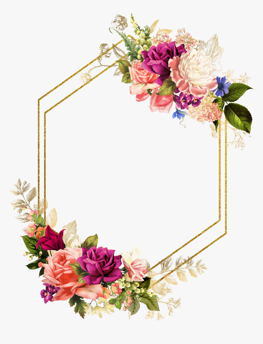 Rose Square Flower Floral Frame Butterfly Gold Floral Frame Hd Png Download I Wedding Frames Floral Wedding Invitations Wedding Invitation Background