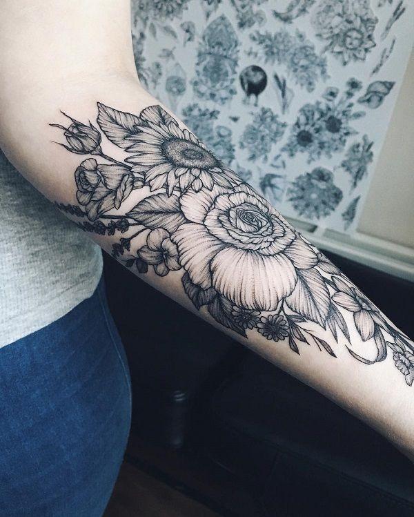 a7d5d38e51b79 110+ Awesome Forearm Tattoos | tattoos | Sunflower tattoo sleeve ...