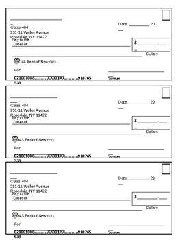 Fill In The Blanks Checks For The Classroom Blank Check Printable Checks Business Checks