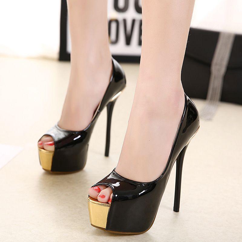 Pure Color Peep toe High Heel Sandal Noir CPWDVwiPHc