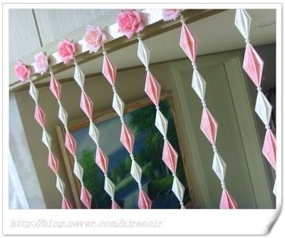 Origami door curtain & Origami door curtain | Door curtains Origami and Simple craft ideas