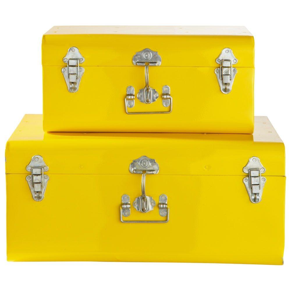 2 Malles En Metal Jaunes Trunks Storage Shades Of Yellow
