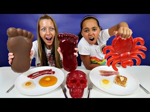 Real Food VS Gummy Food! Gross Giant Candy Challenge ...