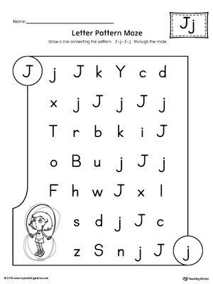 Letter J Pattern Maze Worksheet Alphabet Worksheets Pinterest