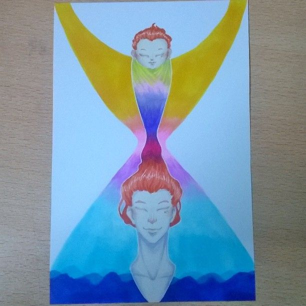 #artnestoltes dia 4: tiempo #time #men #baby #redhead #sea #copicmarkers #illustration #color #life #instagood #followme