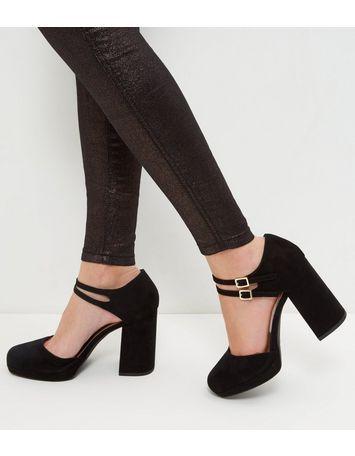 95900cec48f Wide Fit Black Suedette Double Ankle Strap Block Heels