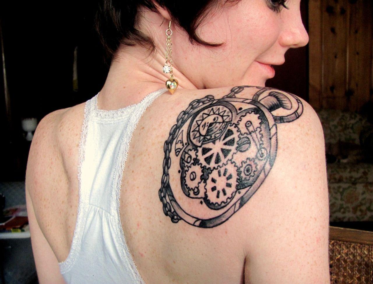 pocket watch tattoo on the shoulder watch tattoo stuff i like pinterest. Black Bedroom Furniture Sets. Home Design Ideas