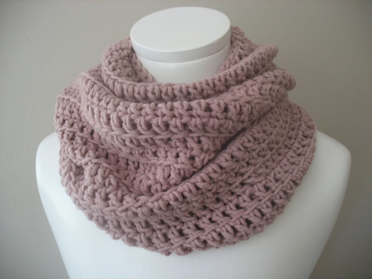 Infinity Scarf Chunky Crocheted Cowl Snood in the colour \
