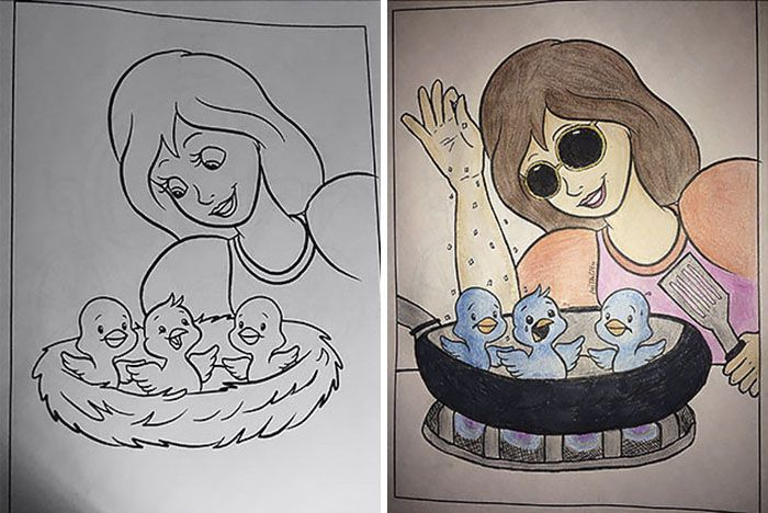 This Is What Happens When Adults Color Drawings For Children Coloring Books Art Jokes Corrupt Coloring Book