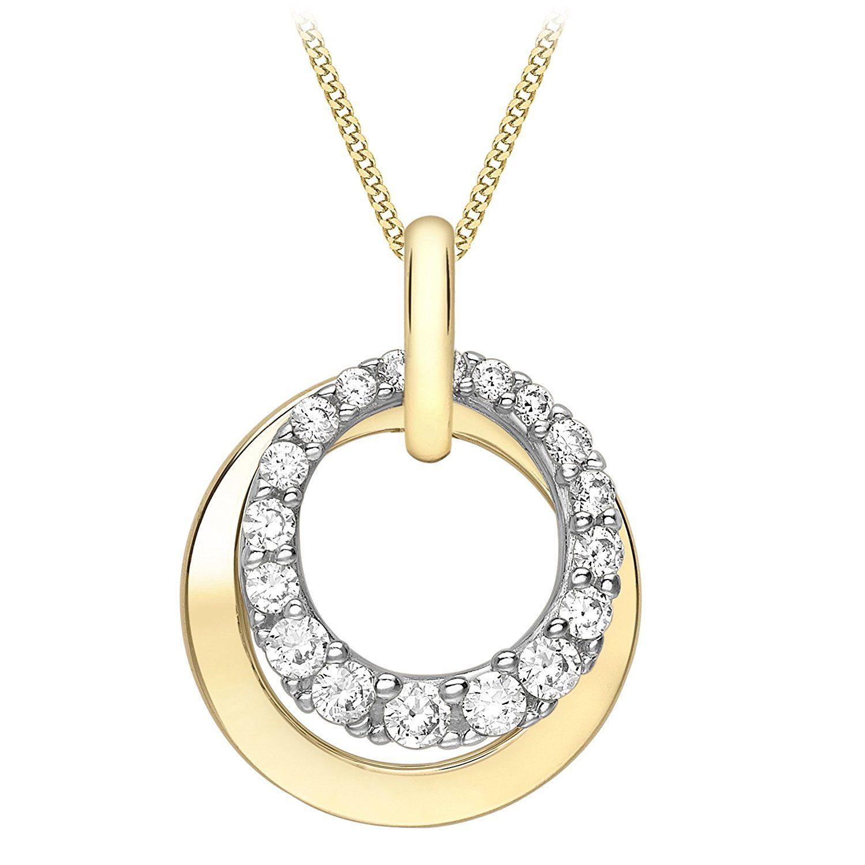 Carissima Gold 9ct 2 Colour Gold Knot Necklace of 45.72cm qJcaZshOv