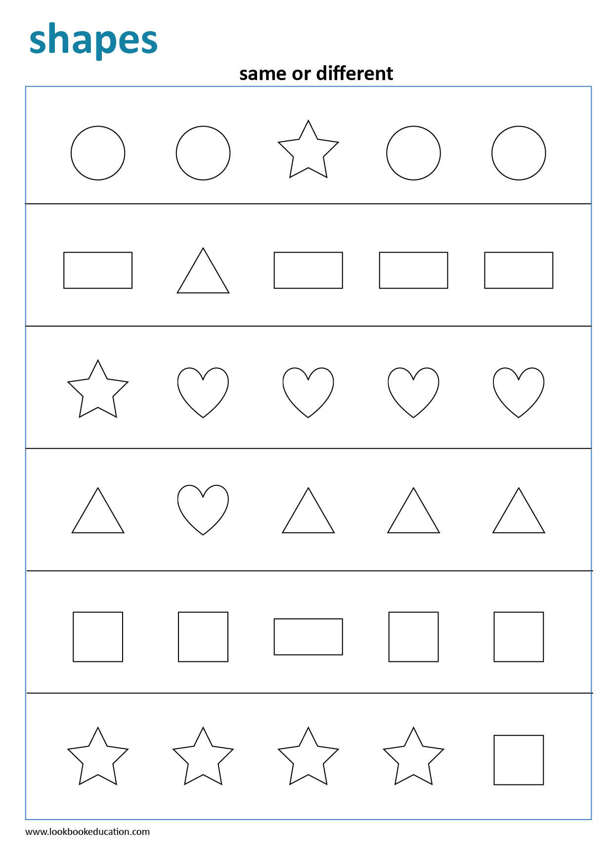 Same Or Different Shapes Worksheet