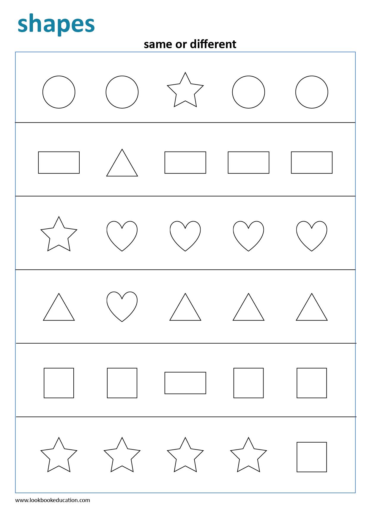 Same Or Different Shapes Worksheet