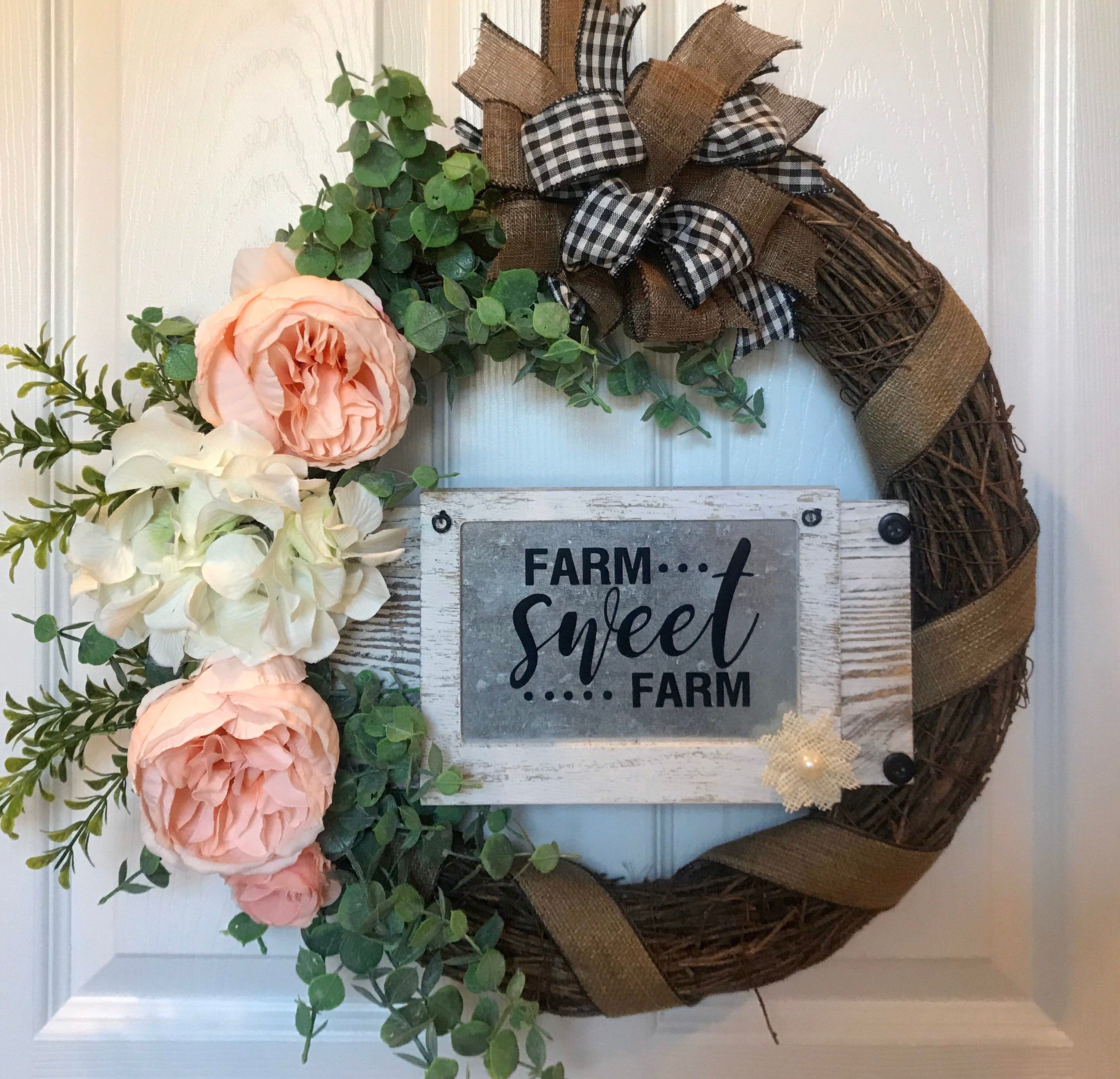 front door farmhouse wreath on Pin On Country Wreaths