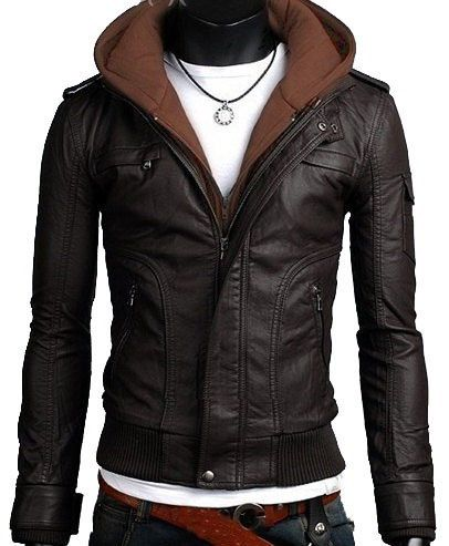 c0b26f7cfcb Men leather jacket men black fabric hooded by Myleatherjackets ...
